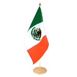 "Mexico Large Table Flag 12x18"", wooden"