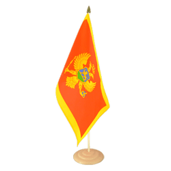 "Montenegro Large Table Flag 12x18"", wooden"