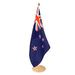 "New Zealand - Large Table Flag 12x18"", wooden"
