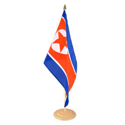 "North corea  Large Table Flag 12x18"", wooden"