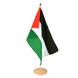 Grand drapeau de table Palestine en bois - 30 x 45 cm