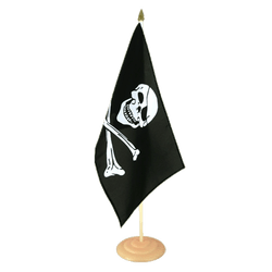 "Pirate Skull and Bones Large Table Flag 12x18"", wooden"