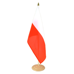 "Poland Large Table Flag 12x18"", wooden"
