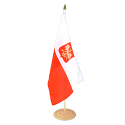 "Poland with eagle Large Table Flag 12x18"", wooden"