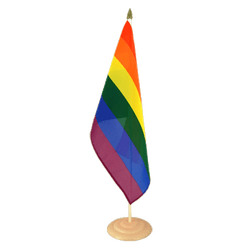 "Rainbow Large Table Flag 12x18"", wooden"