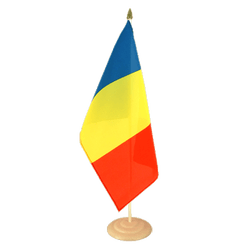 Grand drapeau de table Roumanie en bois 30 x 45 cm