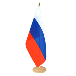 Grand drapeau de table Russie en bois 30 x 45 cm