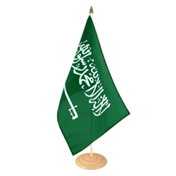 Grand drapeau de table Arabie Saoudite en bois 30 x 45 cm