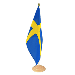 "Sweden Large Table Flag 12x18"", wooden"