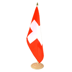 Grand drapeau de table Suisse en bois 30 x 45 cm
