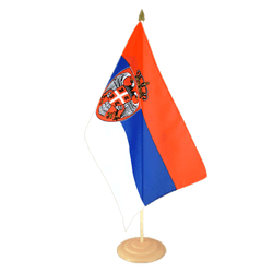 "Serbia with crest Large Table Flag 12x18"", wooden"