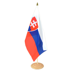 "Slovakia Large Table Flag 12x18"", wooden"