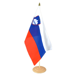 "Slovenia Large Table Flag 12x18"", wooden"