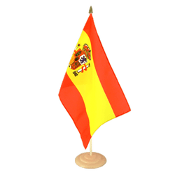 "Spain with crest Large Table Flag 12x18"", wooden"