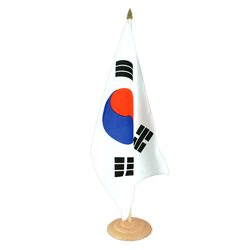 "South Korea Large Table Flag 12x18"", wooden"