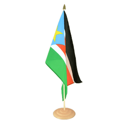 "Southern Sudan Large Table Flag 12x18"", wooden"
