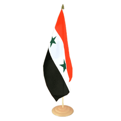 "Syria Large Table Flag 12x18"", wooden"