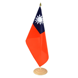 "Taiwan Large Table Flag 12x18"", wooden"
