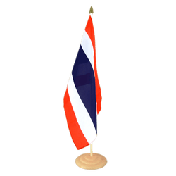 "Thailand Large Table Flag 12x18"", wooden"