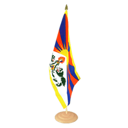 "Tibet Large Table Flag 12x18"", wooden"