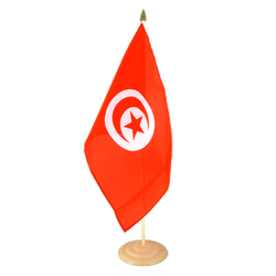 "Tunisia  Large Table Flag 12x18"", wooden"