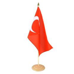 "Turkey Large Table Flag 12x18"", wooden"