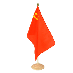 Grand drapeau de table URSS en bois - 30 x 45 cm