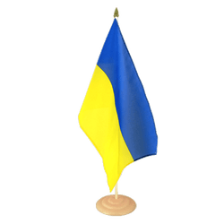 "Ukraine Large Table Flag 12x18"", wooden"