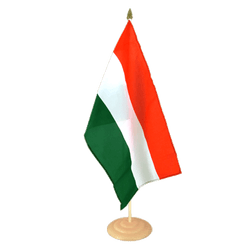 "Hungary Large Table Flag 12x18"", wooden"