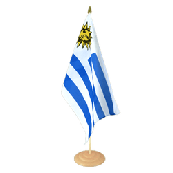 "Uruguay Large Table Flag 12x18"", wooden"