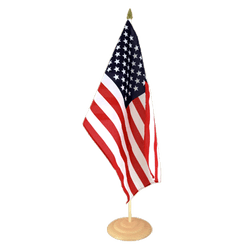 Grand drapeau de table USA en bois - 30 x 45 cm