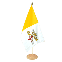 "Vatican Large Table Flag 12x18"", wooden"