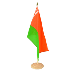 "Belarus Large Table Flag 12x18"", wooden"