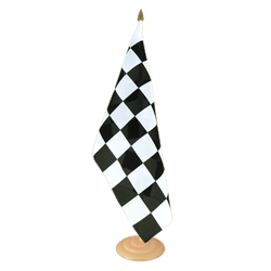 "Checkered Large Table Flag 12x18"", wooden"