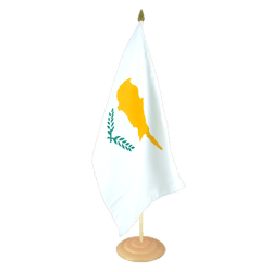 "Cyprus Large Table Flag 12x18"", wooden"