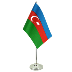 Azerbaijan Satin Table Flag 6x9""