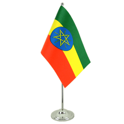 Ethiopia with star - Satin Table Flag 6x9""