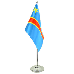 Democratic Republic of the Congo Satin Table Flag 6x9""