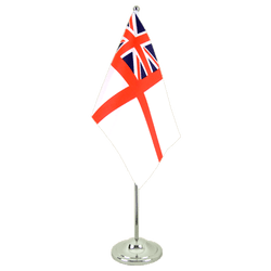 Drapeau de table prestige Royaume-Uni Naval Ensign of the White Squadron 15 x 22 cm