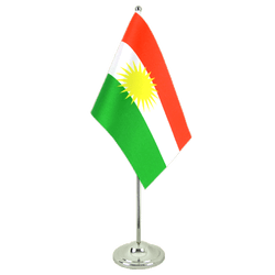 Kurdistan Satin Table Flag 6x9""