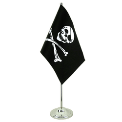 Pirate Skull and Bones  Satin Table Flag 6x9""