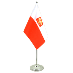 Poland with eagle Satin Table Flag 6x9""