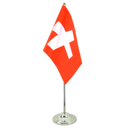 Switzerland Satin Table Flag 6x9""