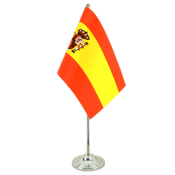 Spain with crest Satin Table Flag 6x9""