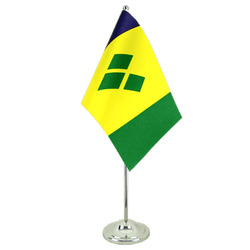 Drapeau de table prestige Saint Vincent et les Grenadines 15 x 22 cm