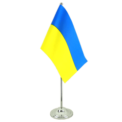 Drapeau de table prestige Ukraine 15 x 22 cm