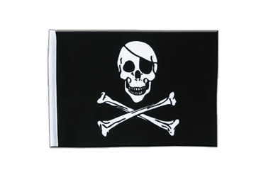 Pirat Skull and Bones Satin Flagge 15 x 22 cm