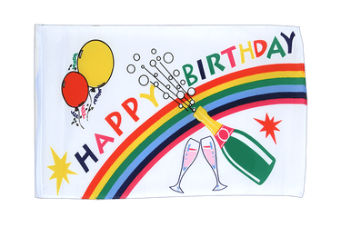 Petit drapeau Happy Birthday 30 x 45 cm