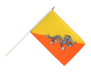 Bhutan Hand Waving Flag 12x18""