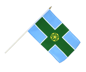 Derbyshire Hand Waving Flag 12x18""